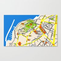 Tel Aviv Jaffa map design - written in Hebrew 2  Canvas Print