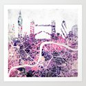 LONDON Skyline + map Art Print
