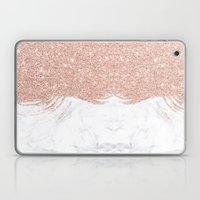 Trendy modern faux glitter rose gold brushstrokes white marble  Laptop & iPad Skin
