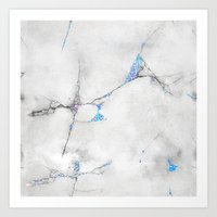 Blue Cracked Design Art Print