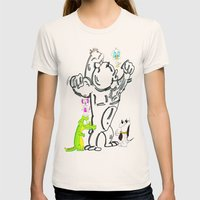 Cartoon Friends Womens Fitted Tee Natural SMALL