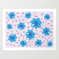 Gentle Blue Flowers Patt… Art Print