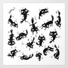 Falling Cats Art Print