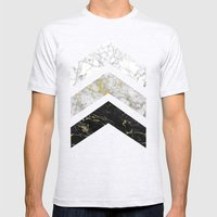 Gold Flecked Marble Chev… Mens Fitted Tee Ash Grey SMALL