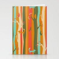 Woodland Stripe Orange Stationery Cards