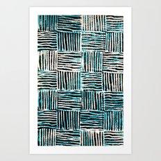Black and Blue Pattern Print Art Print