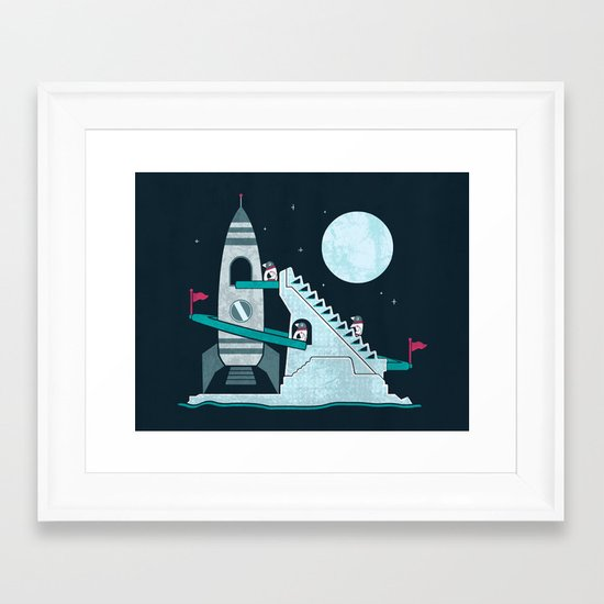 Penguin Space Race Framed Art Print
