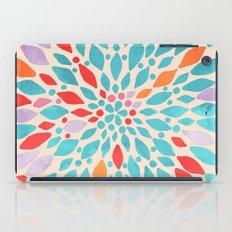 Radiant Dahlia - teal, orange, coral, pink watercolor pattern iPad Case