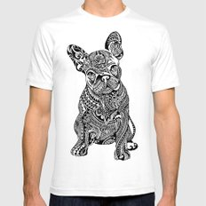 Polynesian  Frenchie White Mens Fitted Tee SMALL