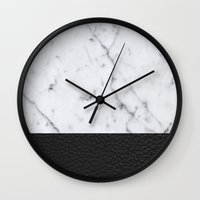 Marble And Leather Wall Clock