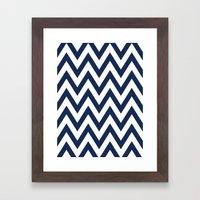 Navy Chevron Framed Art Print