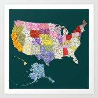 United States in Flowers Art Print