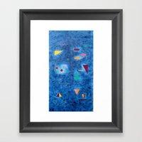 Design on blue Framed Art Print