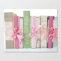 Shabby Chic Cottage Pink Aqua Books Collection  Canvas Print