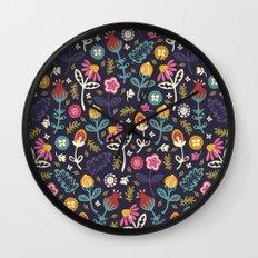 Ditsy Flowers Wall Clock