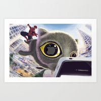 Falling Cat & Hero Art Print
