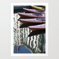 Kayak Reflections Art Print