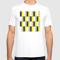 Yellow & black modernist pattern Mens Fitted Tee White SMALL