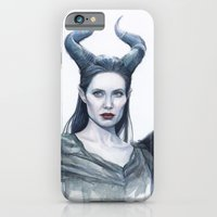 iPhone & iPod Case featuring Maleficent Watercolor Portrait by Olechka