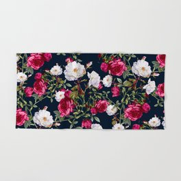 Hand & Bath Towel - Vintage Roses on Darkblue - VS Fashion Studio