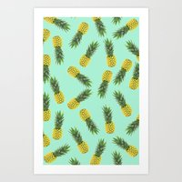 blue pineapple pattern Art Print