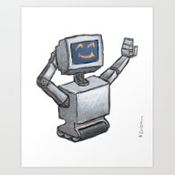 Art Print featuring Happy Bot by Ken Coleman