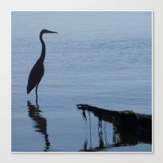 Pretty Blue Lake With A Heron  Canvas Print