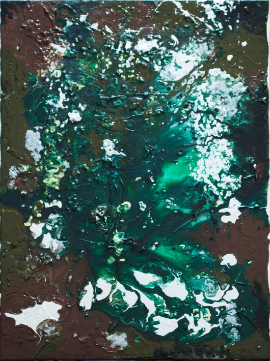 Green abstract liquidity. Art Print