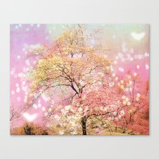 Shabby Chic Cottage Pink Yellow Nature Trees Decor Canvas Print