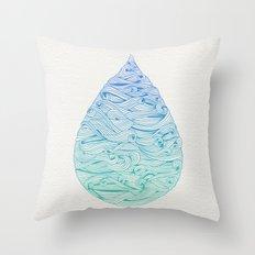 Water Drop – Blue Ombré Throw Pillow