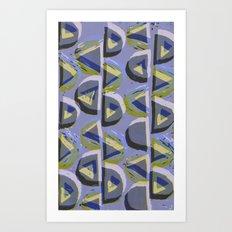 Blue Lino and Digital Pattern Print Art Print