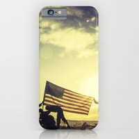 iPhone & iPod Case featuring Soldiers Raising An American Flag At Sunset by diane555