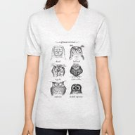 Unisex V-Neck featuring Caffeinated Owls by Dave Mottram