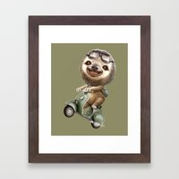 RUNAWAY SLOTH Framed Art Print