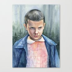 Eleven from Stranger Things Watercolor Portrait Art Canvas Print