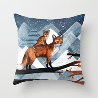 Fox Wood Throw Pillow