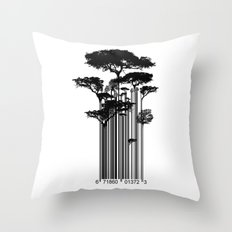 Barcode Trees illustration  Throw Pillow