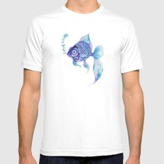 Baby Blue #5 SMALL Mens Fitted Tee White