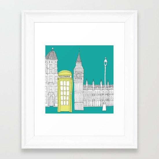London - City prints // Red Telephone Box Framed Art Print