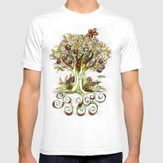 Fall Tree Bloom SMALL Mens Fitted Tee White