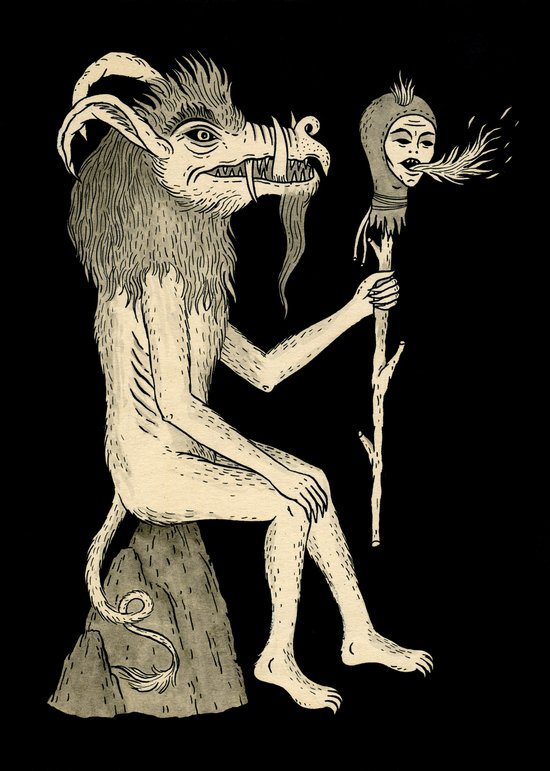 Creature Holding Sceptre Art Print