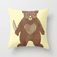Throw Pillow featuring I Love You (Bear) by Tobe Fonseca