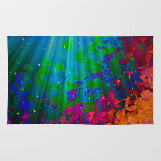 UNDER THE SEA Bold Colorful Abstract Acrylic Painting Mermaid Ocean Waves Splash Water Rainbow Ombre Area & Throw Rug
