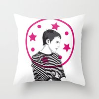 Jean Seberg//Black & White Throw Pillow