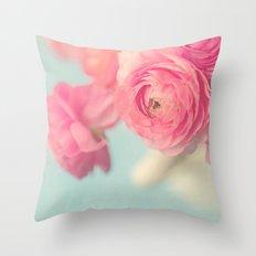 Cotton Candy, Pink Ranunculus Throw Pillow