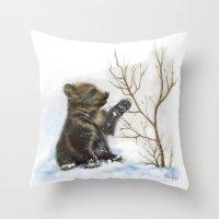 bear cub Throw Pillow