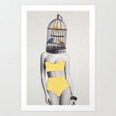 Bird Brained Babe Art Print