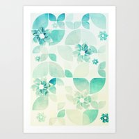 Flowers and Snowflakes Pattern Art Print