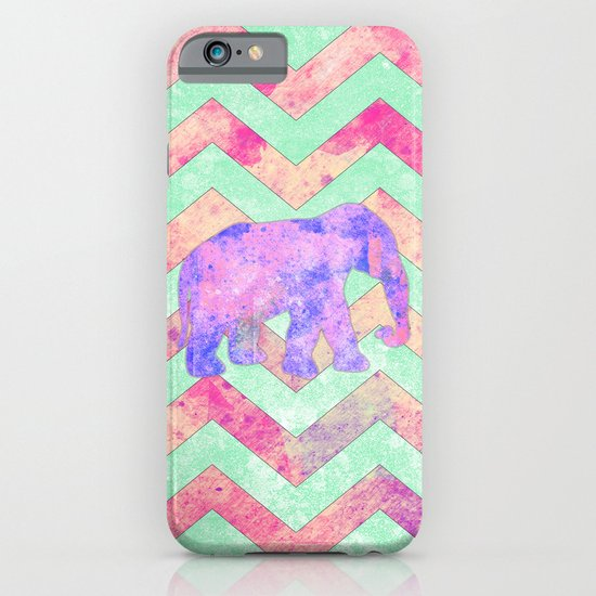 Whimsical Purple Elephant Mint Green Pink Chevron iPhone & iPod Case