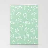 Berries - Mint Stationery Cards